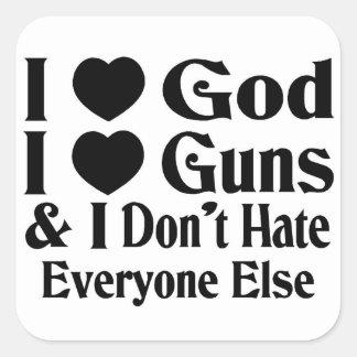God & Guns Square Sticker