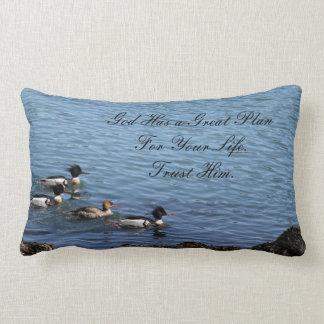 God Has A Plan Inspirational Quote Lumbar Pillow