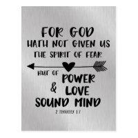 God has not given spirit of Fear Bible Verse Postcard