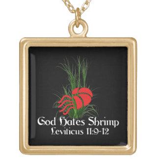 God Hates Shrimp Square Pendant Necklace