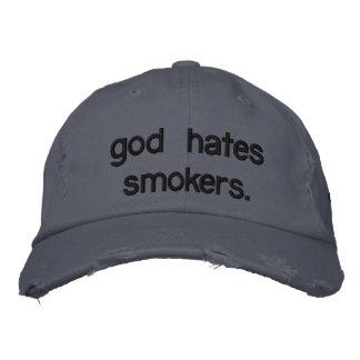 god hates smokers. baseball cap