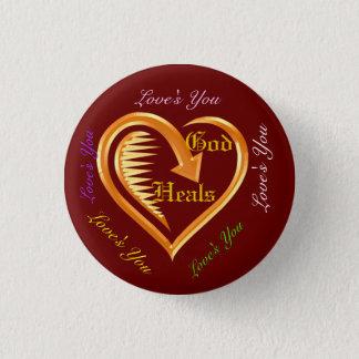 God Heals Hearts Christian Design 6 Button