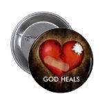 GOD HEALS PINBACK BUTTONS