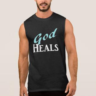 God Heals turquoise white text Sleeveless Tees