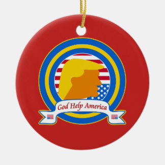 God Help America Resist Anti Trump Funny Ceramic Ornament