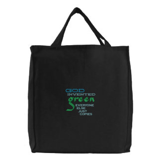 God Invented Green Christian tote bag