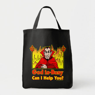 God Is Busy, Can I Help You? Humor Tote Bag