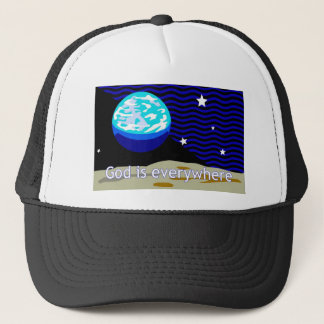 God is everywhere, earth and stars trucker hat
