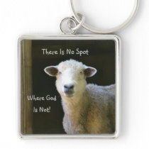 God Is Everywhere Sheep Keychain