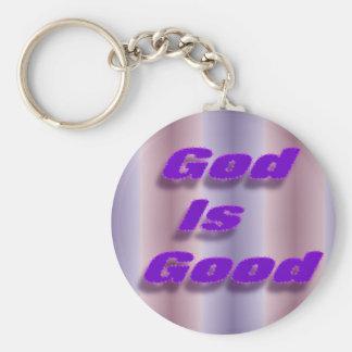 God is Good Basic Round Button Keychain