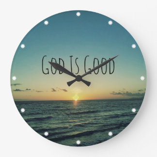 God is Good Quote Large Clock