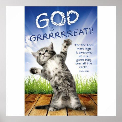 god is grrrrreat christian posters for kids zazzle