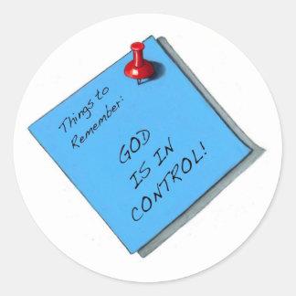 GOD IS IN CONTROL MEMO CLASSIC ROUND STICKER