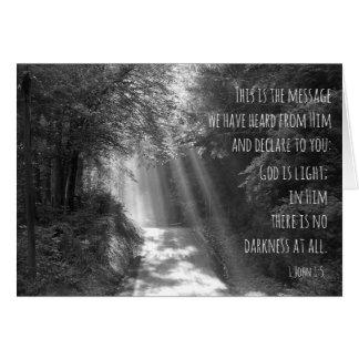 God is light, John, 1 John 1:5, beams of sunlight. Card