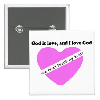 God is love, and I love God pink heart design 2 Inch Square Button
