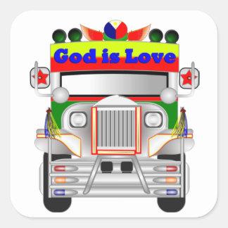 God Is Love Car Square Sticker