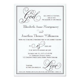 God is Love Christian Script Wedding Invitation