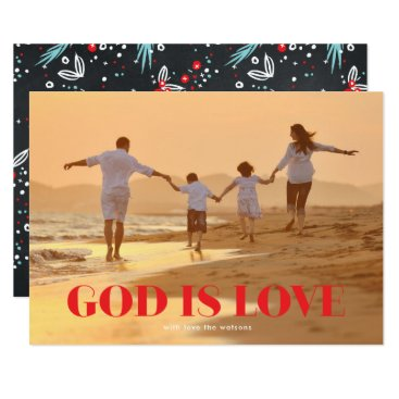 Beach Themed GOD is Love Christmas Religious Holiday Photo Card