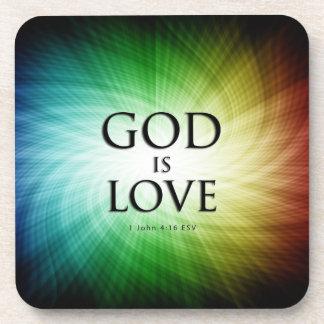 God is Love - Cork Coasters