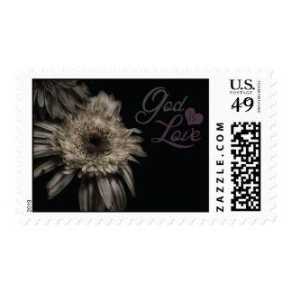 God is Love Flower Stamp