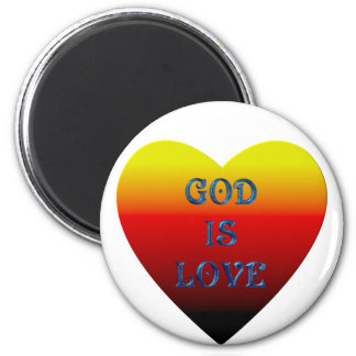 """""""God is Love"""" Heart 2 Inch Round Magnet"""