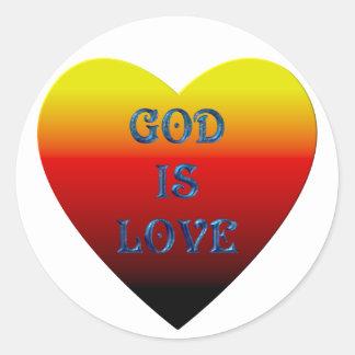 """God is Love"" Heart Classic Round Sticker"