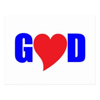 GOD is LOVE HEART God Postcard