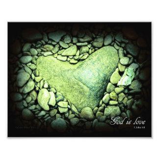 God Is Love Heart Rock 8 x 10 Photo Art