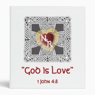 God Is Love Monograms Binder-Customize 3 Ring Binder
