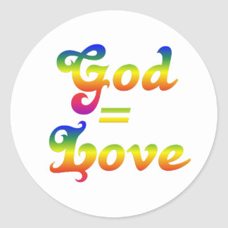 God is love not hate classic round sticker