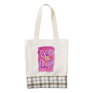God is Love pink 1 tote bag plaid