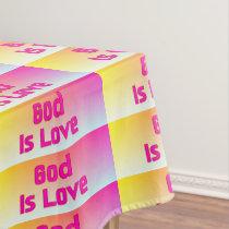 God Is Love plaid Tablecloth