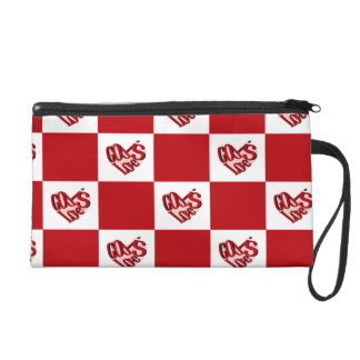 God Is Love red and white checked Wristlet Clutch