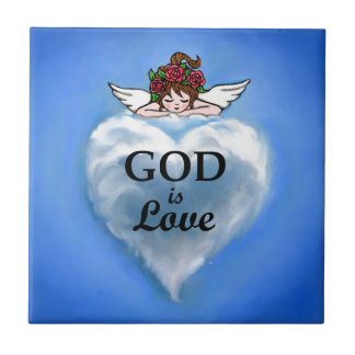 God Is Love Small Square Tile