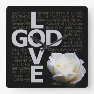 God is Love Square Wall Clock
