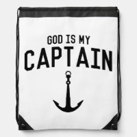 God Is My Captain Drawstring Backpack