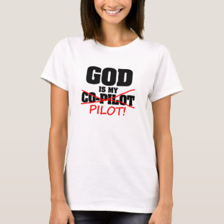 """God Is My Co-Pilot"" Womens Cotton T T-Shirt"