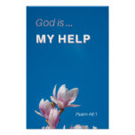 God is my Help Inspirational Bible Verse Poster