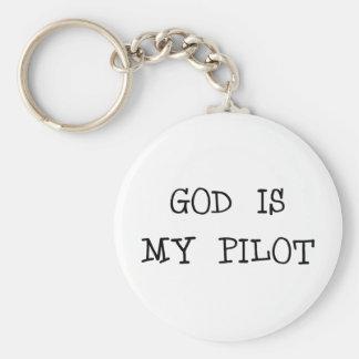 God Is My Pilot Basic Round Button Keychain