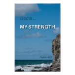 God is my Strength Inspirational Bible Verse Poster