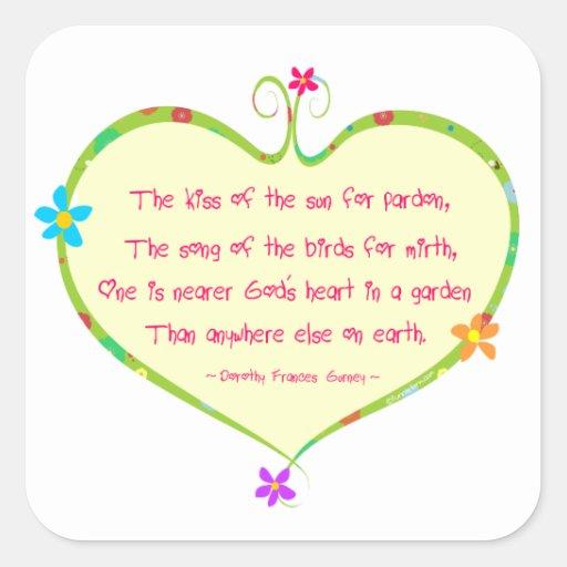 God is Nearer in a Garden Square Sticker