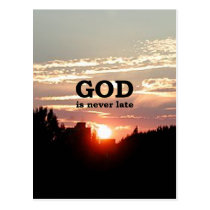 GOD is Never Late Postcard