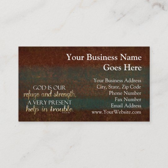 Is Our Refuge Verse Brown Gold Business Card