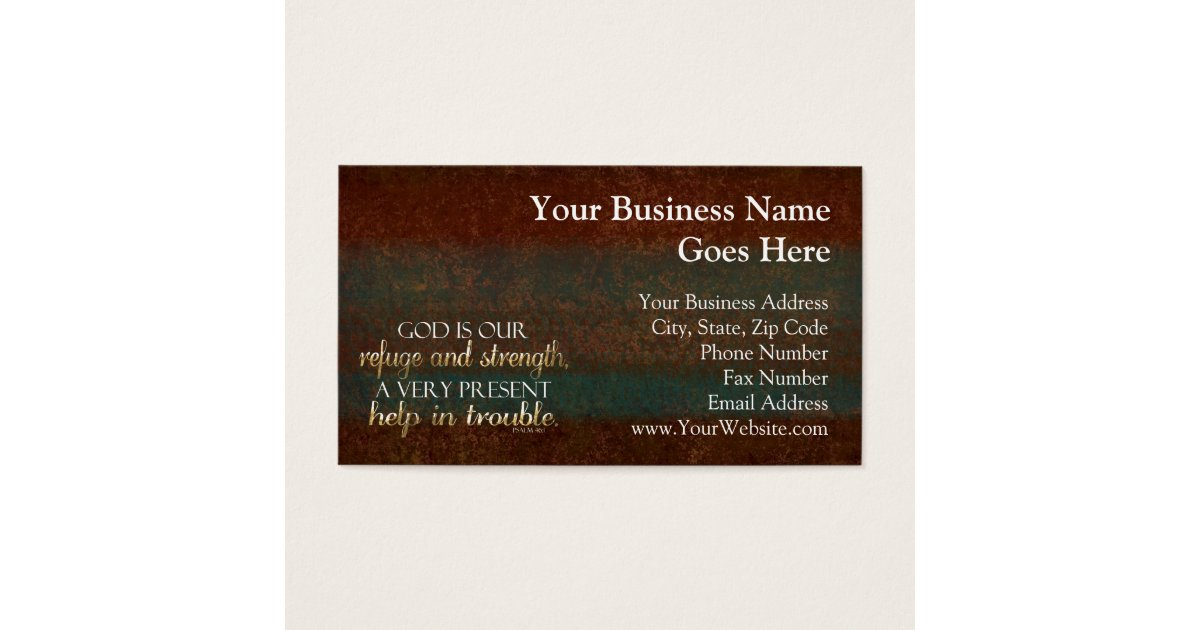 God is our Refuge Christian Bible Verse Brown/Gold Business Card ...