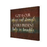God is our Refuge Christian Bible Verse Brown/Gold Gallery Wrap Canvas