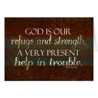 God is our Refuge Christian Bible Verse Brown/Gold Greeting Card