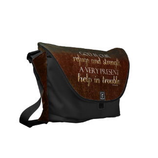 God is our Refuge Christian Bible Verse Brown/Gold Courier Bag