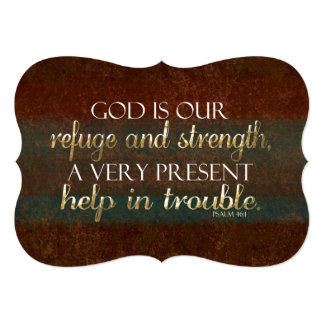 God is our Refuge Christian Bible Verse Brown/Gold Personalized Invitation