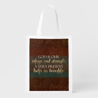 God is our Refuge Christian Bible Verse Brown/Gold Market Tote