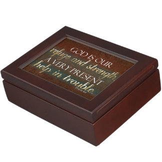 God is our Refuge Christian Bible Verse Brown/Gold Memory Box